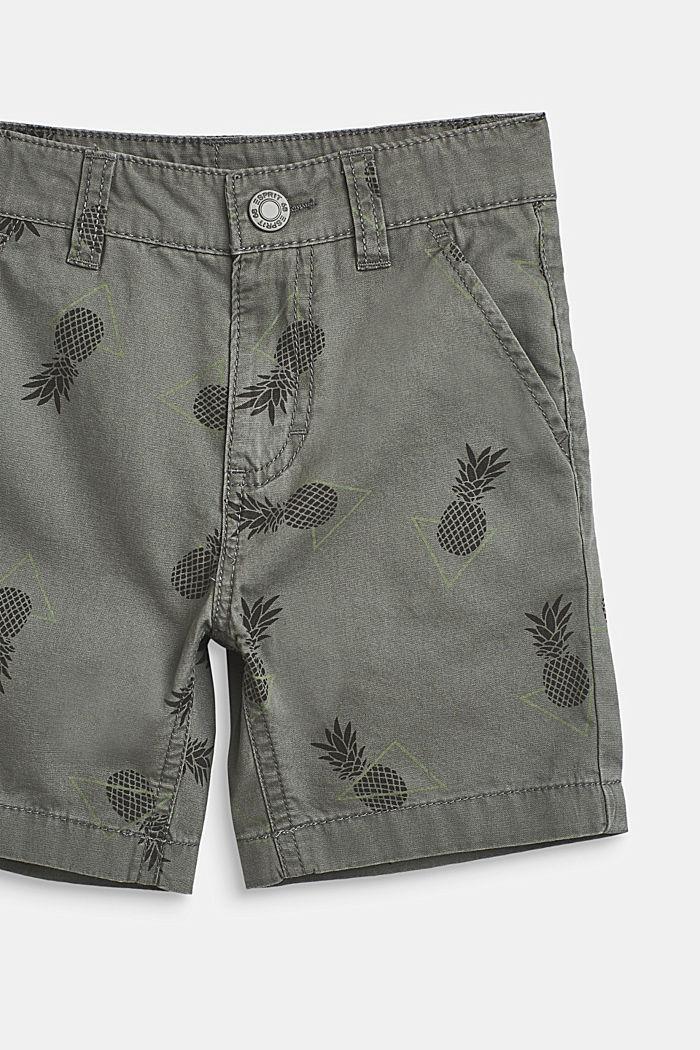 Pineapple print shorts, 100% cotton, LIGHT KHAKI, detail image number 1