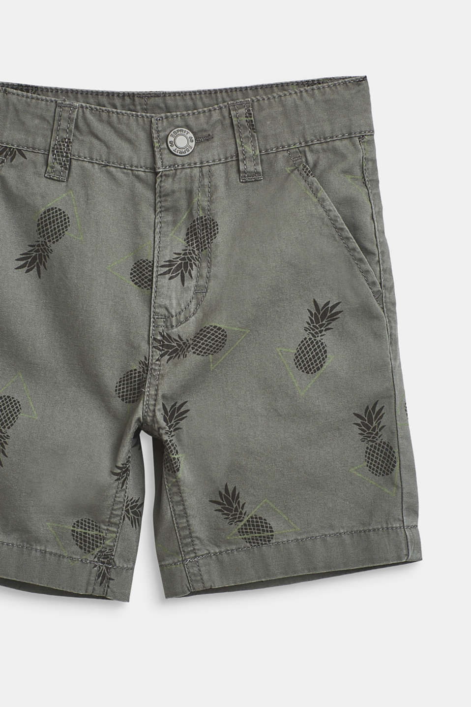 Pineapple print shorts, 100% cotton, LIGHT KHAKI, detail image number 1