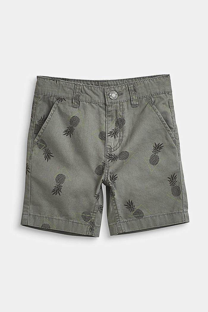 Pineapple print shorts, 100% cotton, LIGHT KHAKI, detail image number 0
