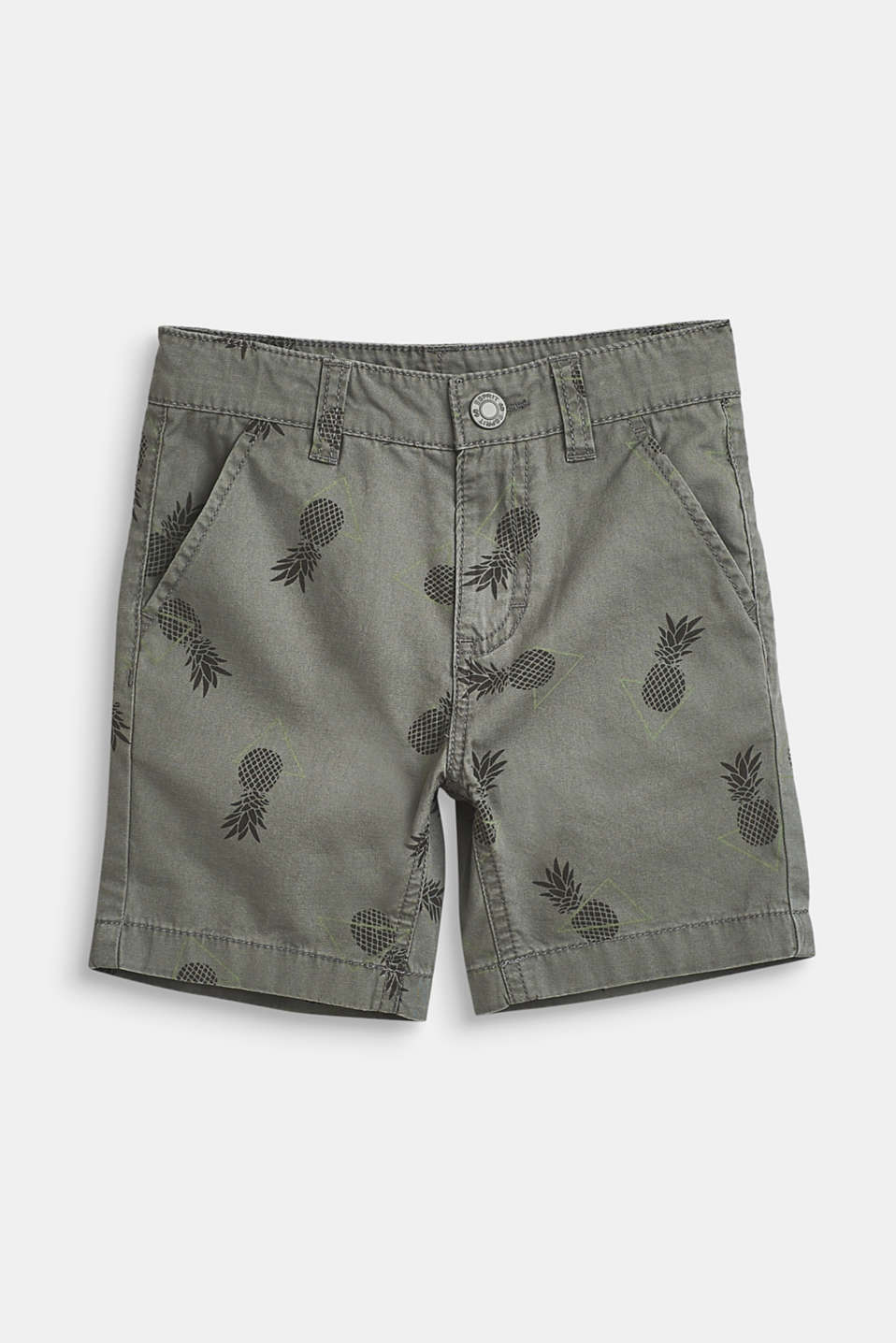 Pineapple print shorts, 100% cotton, LIGHT KHAKI, detail image number 0