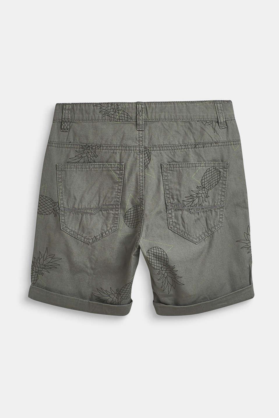 Pineapple print shorts, 100% cotton, LCLIGHT KHAKI, detail image number 1