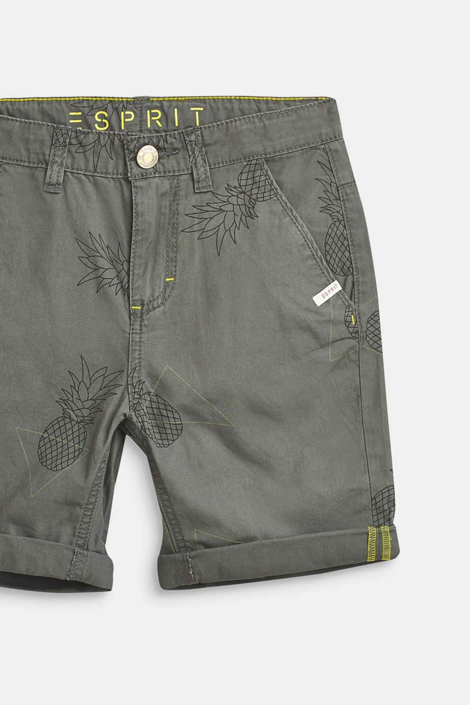 Pineapple print shorts, 100% cotton, LCLIGHT KHAKI, detail image number 2