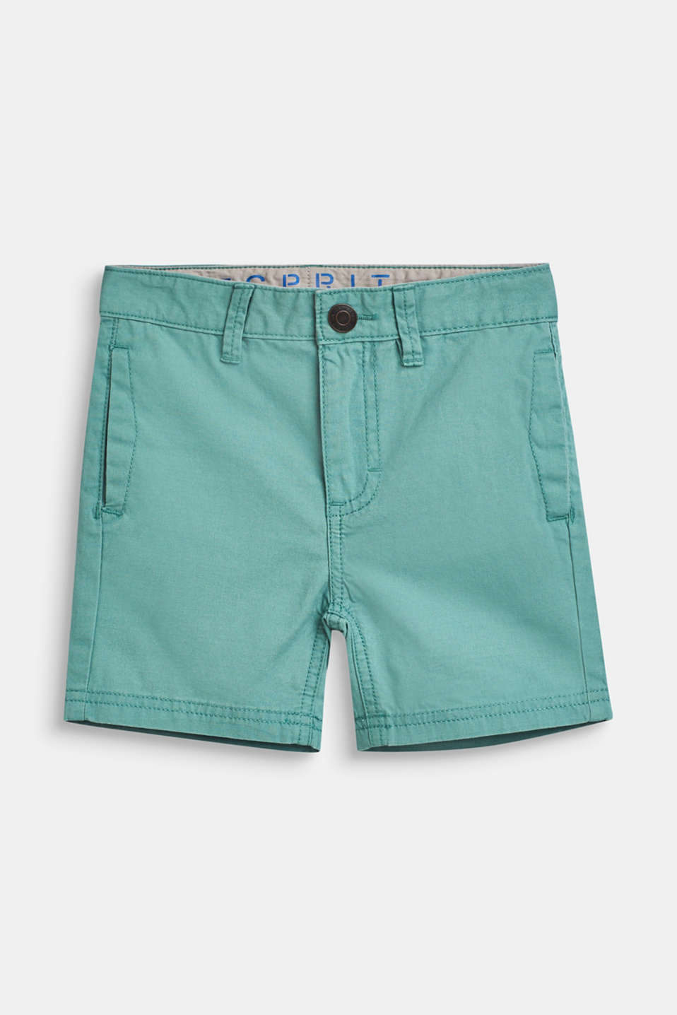 Shorts with adjustable waistband, 100% cotton, SOFT GREEN, detail image number 0