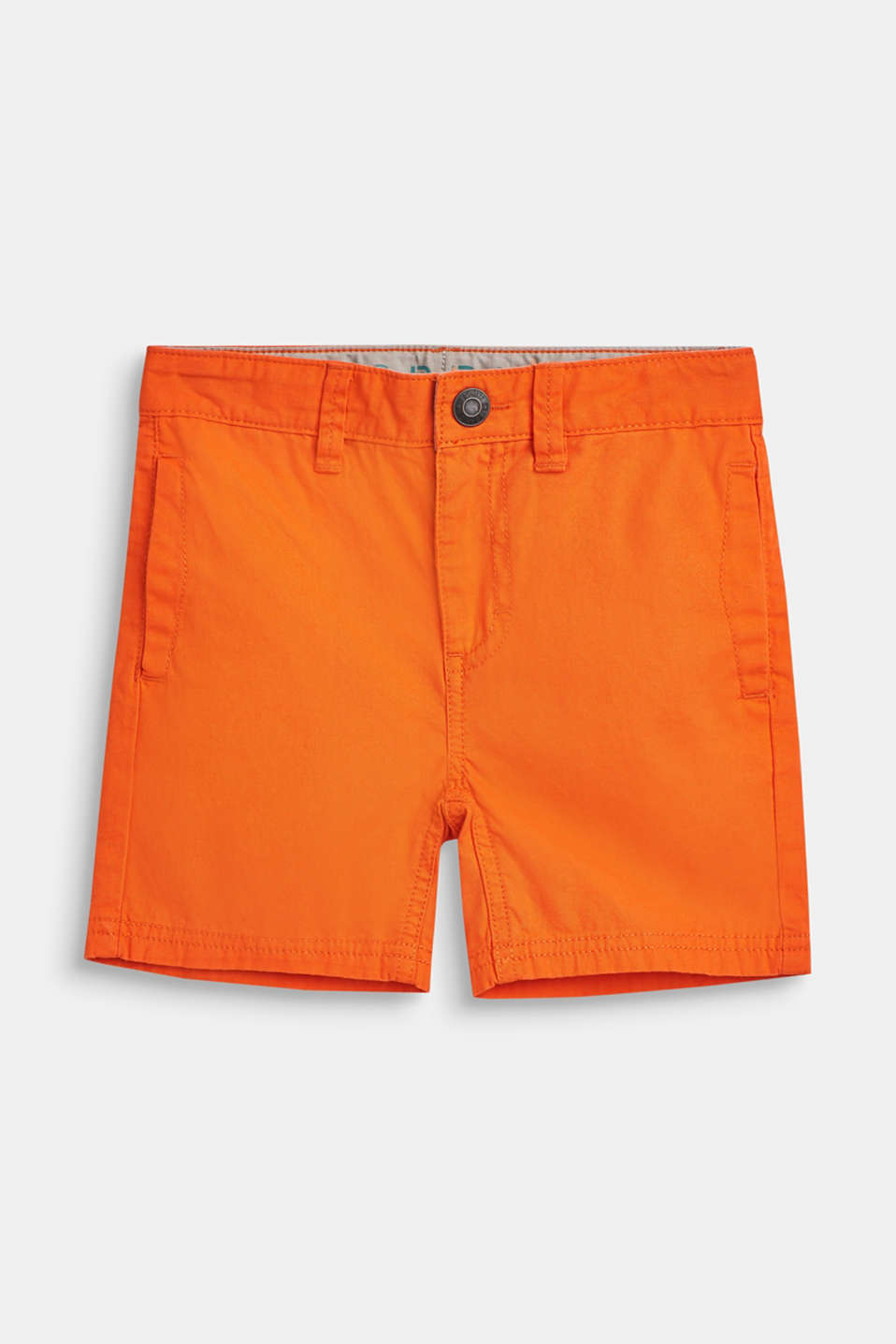 Shorts with adjustable waistband, 100% cotton, BRIGHT ORANGE, detail image number 0
