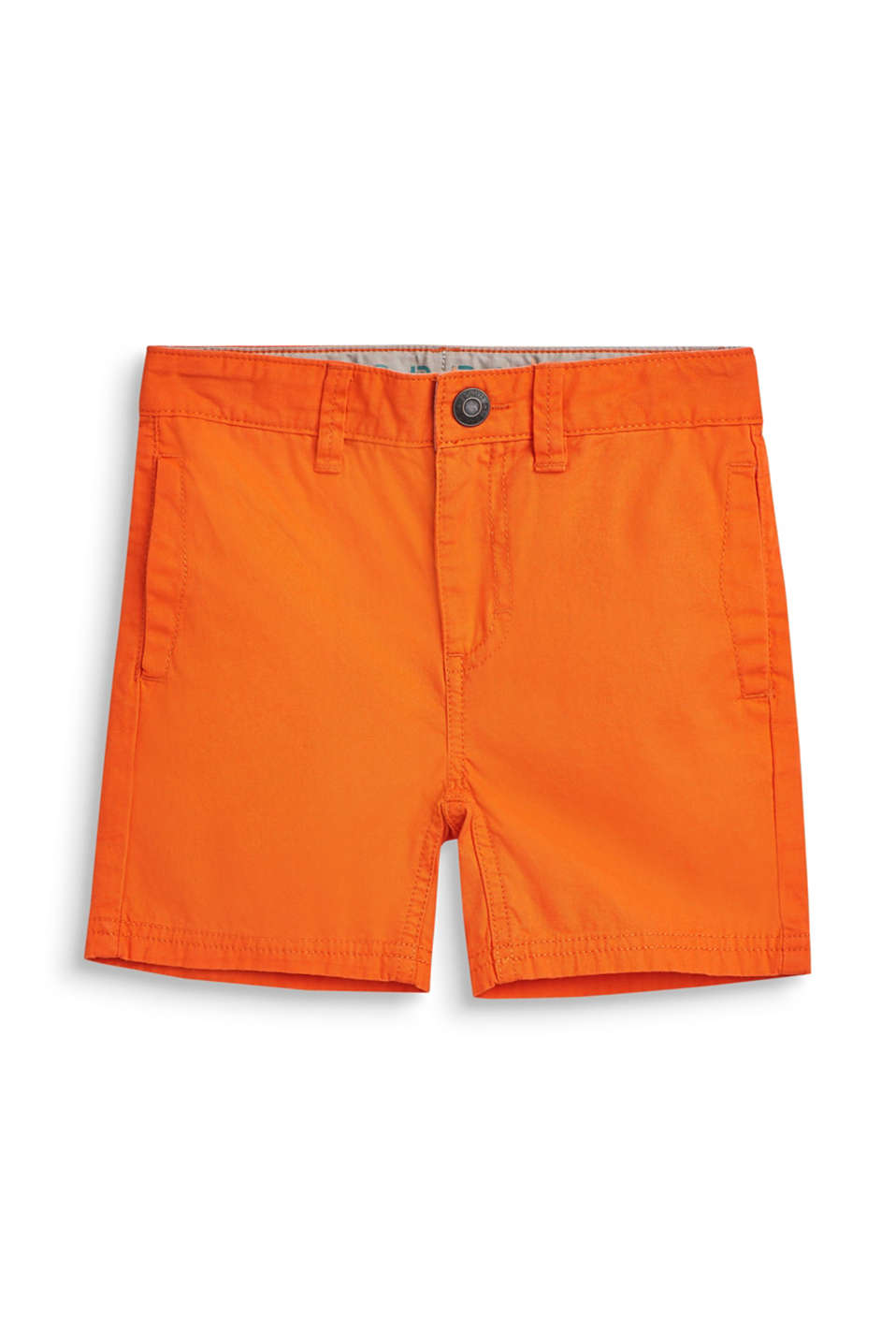 Shorts with adjustable waistband, 100% cotton, BRIGHT ORANGE, detail image number 3