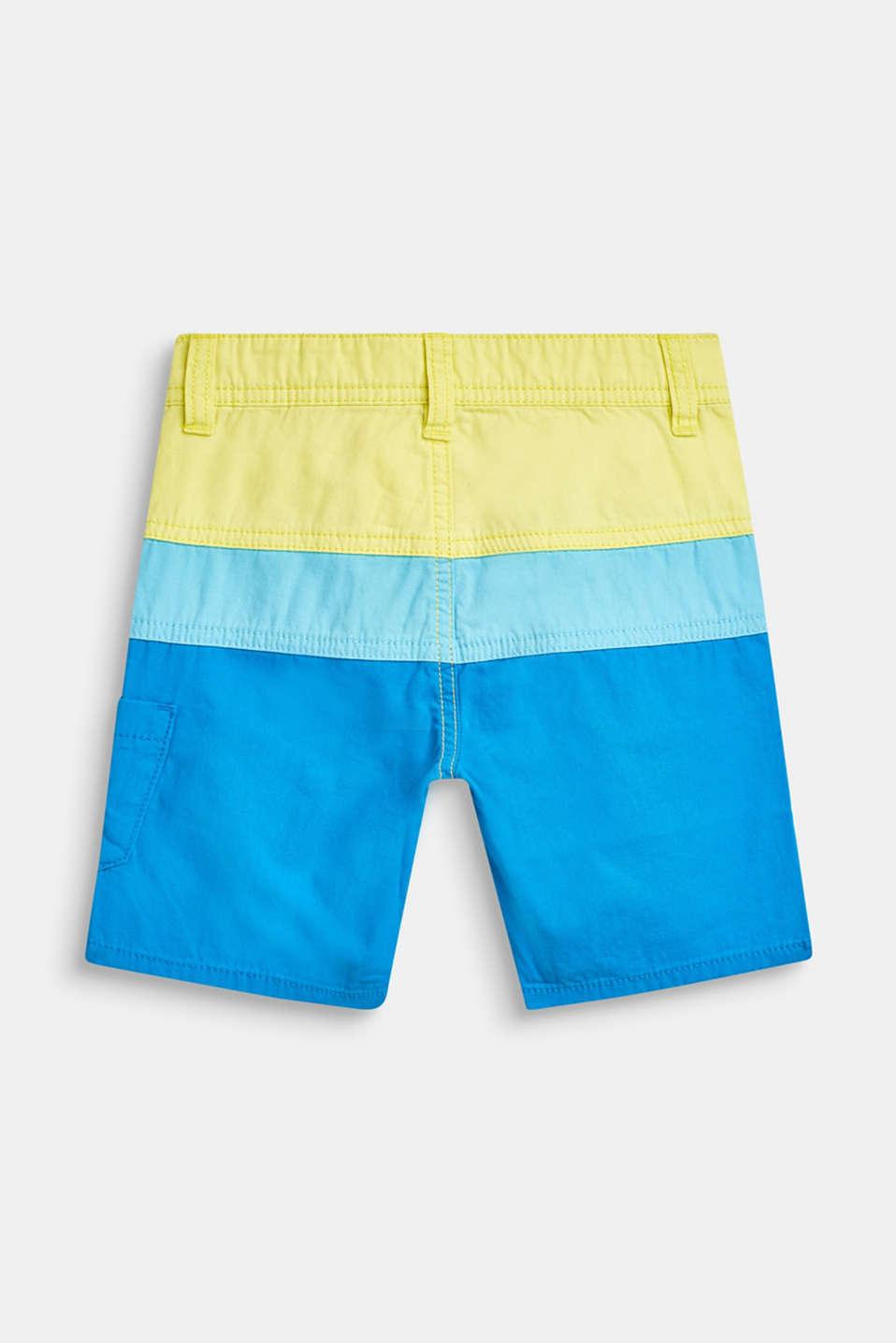 Bermudas in a colour block design, 100% cotton, BRIGHT BLUE, detail image number 1
