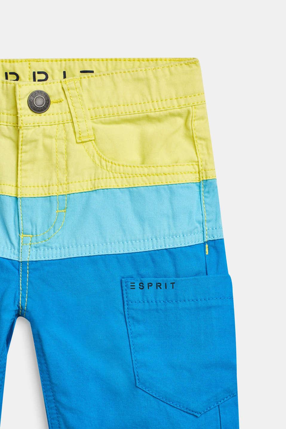 Bermudas in a colour block design, 100% cotton, BRIGHT BLUE, detail image number 2