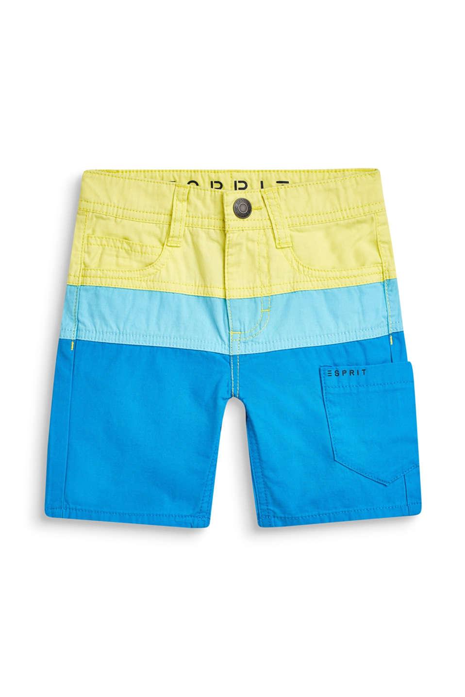 Bermudas in a colour block design, 100% cotton, BRIGHT BLUE, detail image number 3