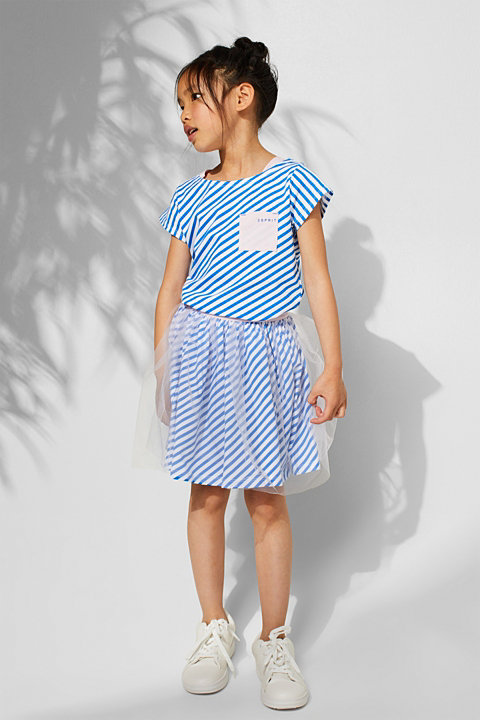 Striped jersey skirt with tulle