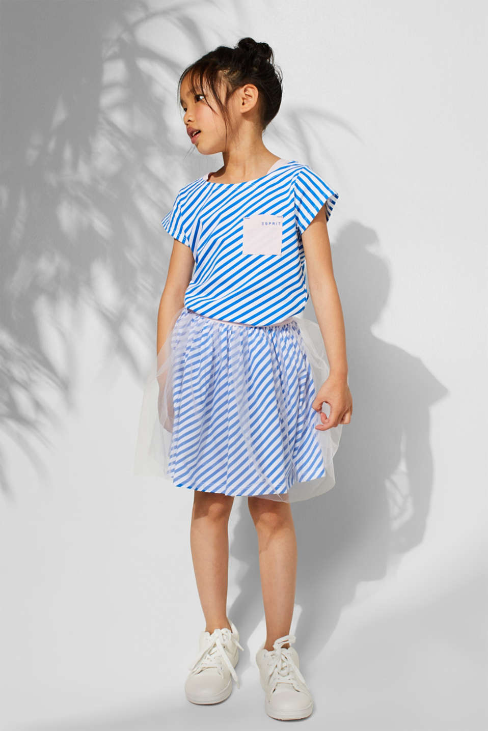 Striped jersey skirt with tulle, INFINITY BLUE, detail image number 2