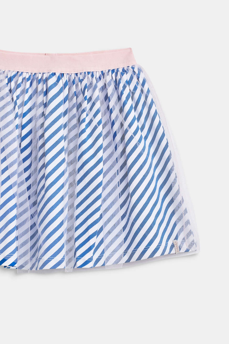 Striped jersey skirt with tulle, INFINITY BLUE, detail image number 3