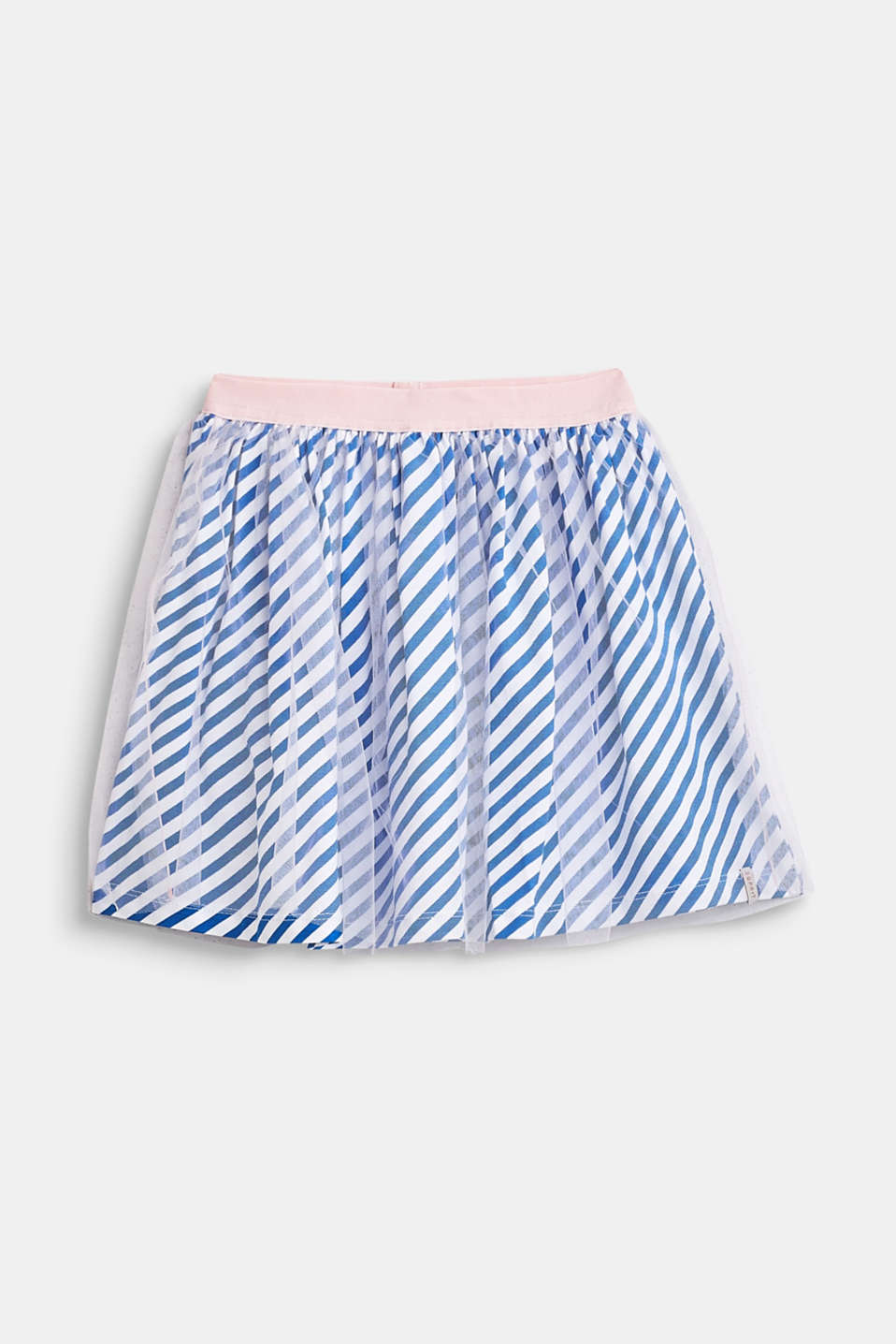 Striped jersey skirt with tulle, INFINITY BLUE, detail image number 0