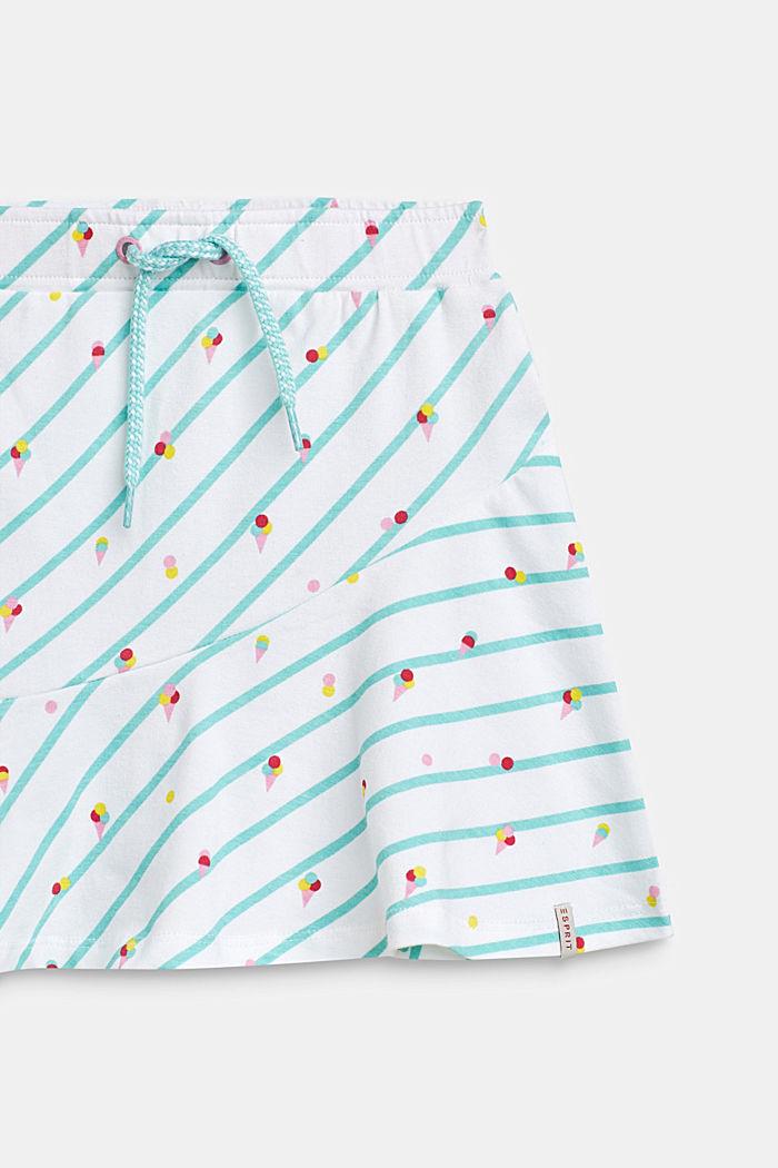 Jersey rok met ijsjesprint, katoen-stretch, WHITE, detail image number 2