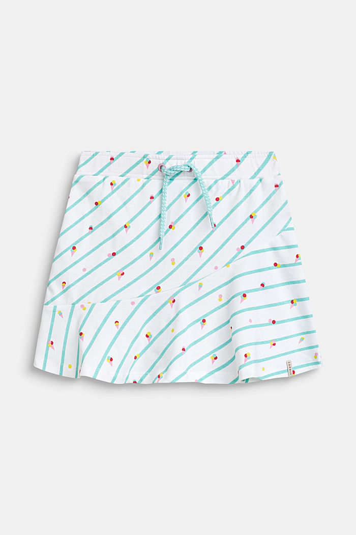 Jersey rok met ijsjesprint, katoen-stretch, WHITE, detail image number 0