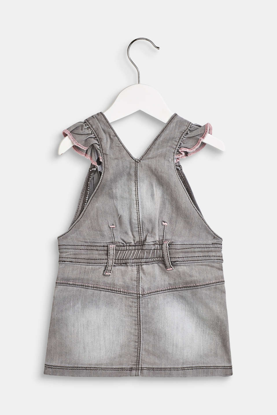 Dungaree dress with decorative elements made of stretch denim, LCLIGHT GREY DEN, detail image number 1