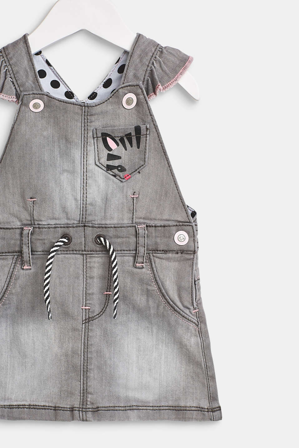 Dungaree dress with decorative elements made of stretch denim, LCLIGHT GREY DEN, detail image number 2