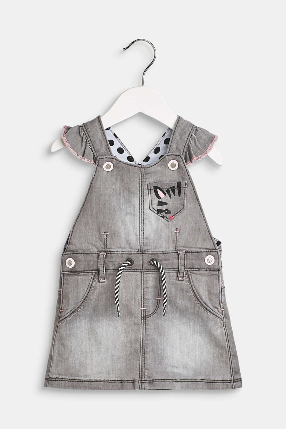 Dungaree dress with decorative elements made of stretch denim, LCLIGHT GREY DEN, detail image number 0