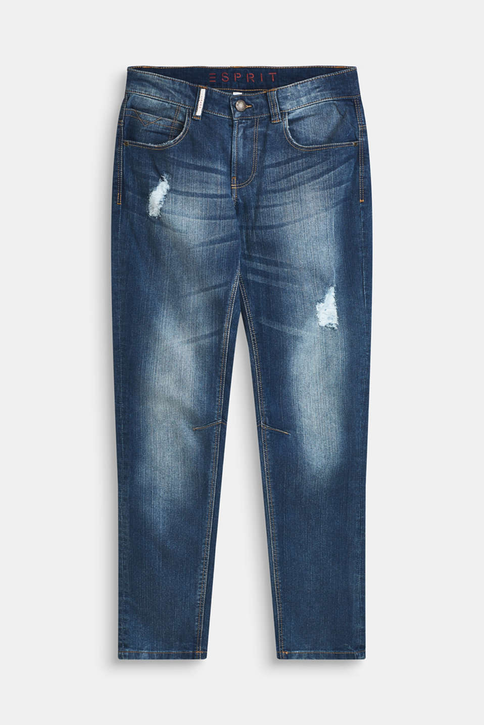 Esprit - Super stretchy jeans with distressed effects
