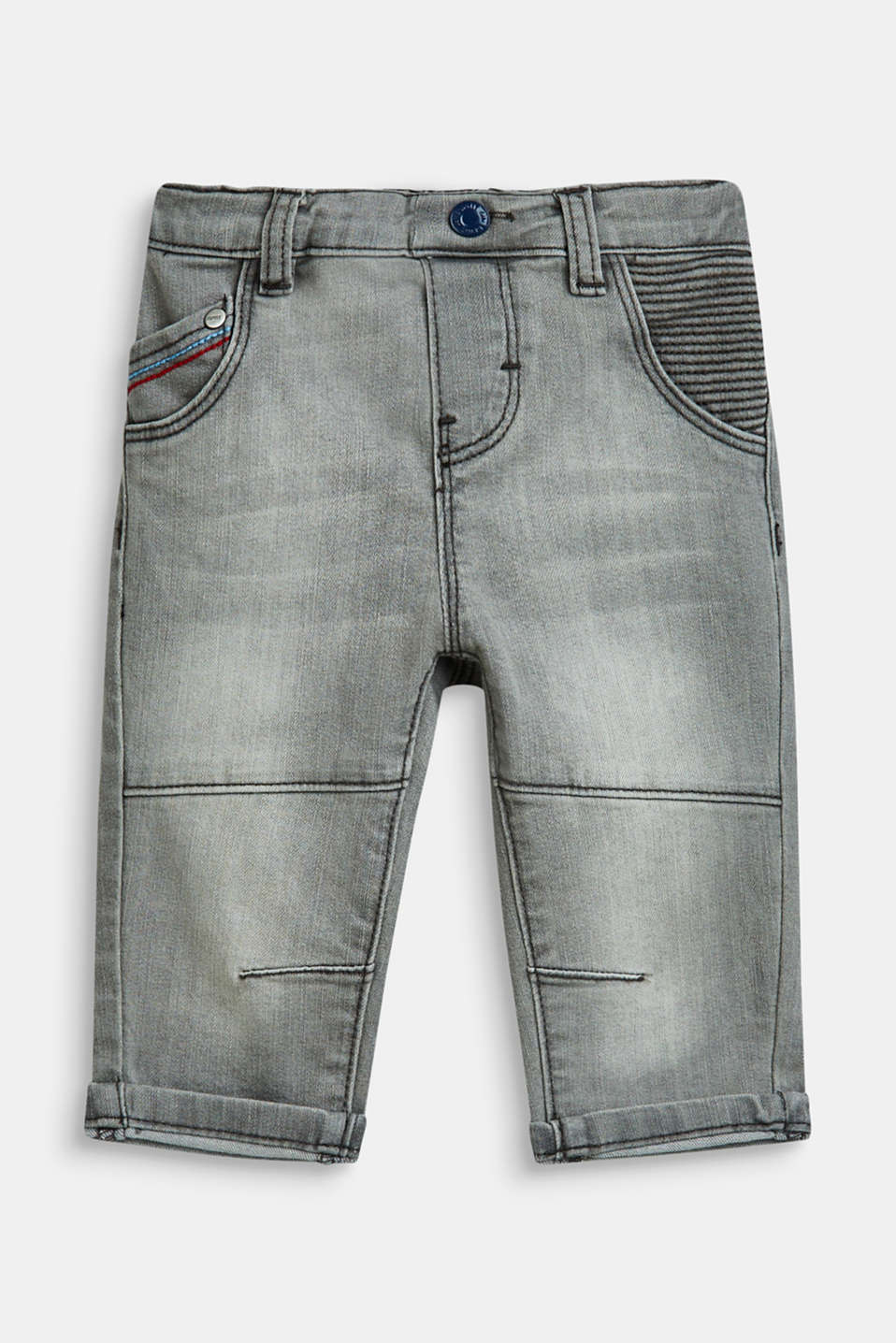 Esprit - Stretch jeans in a biker style with an adjustable waistband