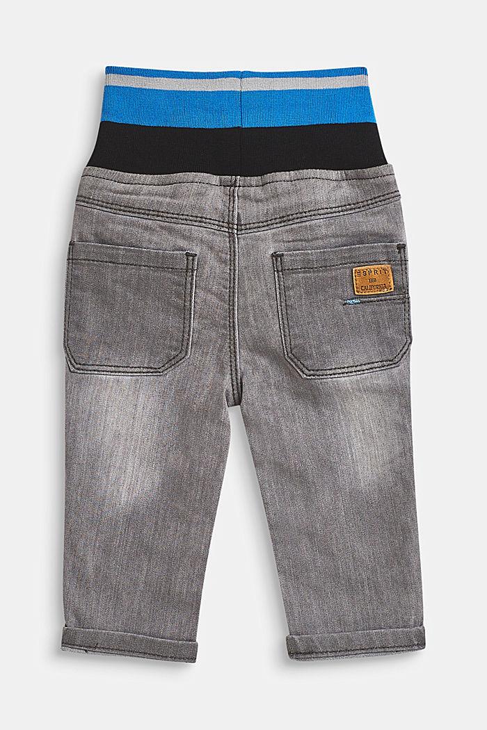 Stretch-Jeans mit gestreiftem Rippbund, LCLIGHT GREY DEN, detail image number 1