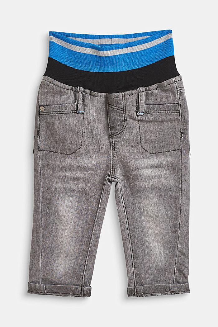 Stretch-Jeans mit gestreiftem Rippbund, LCLIGHT GREY DEN, detail image number 0