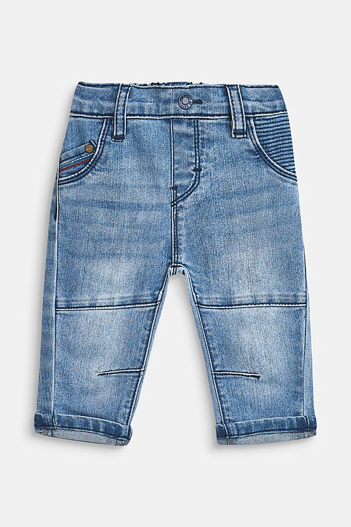 Stretch-Jeans mit Ziernähten und Gummizugbund, LCMEDIUM WASH DE, detail image number 0