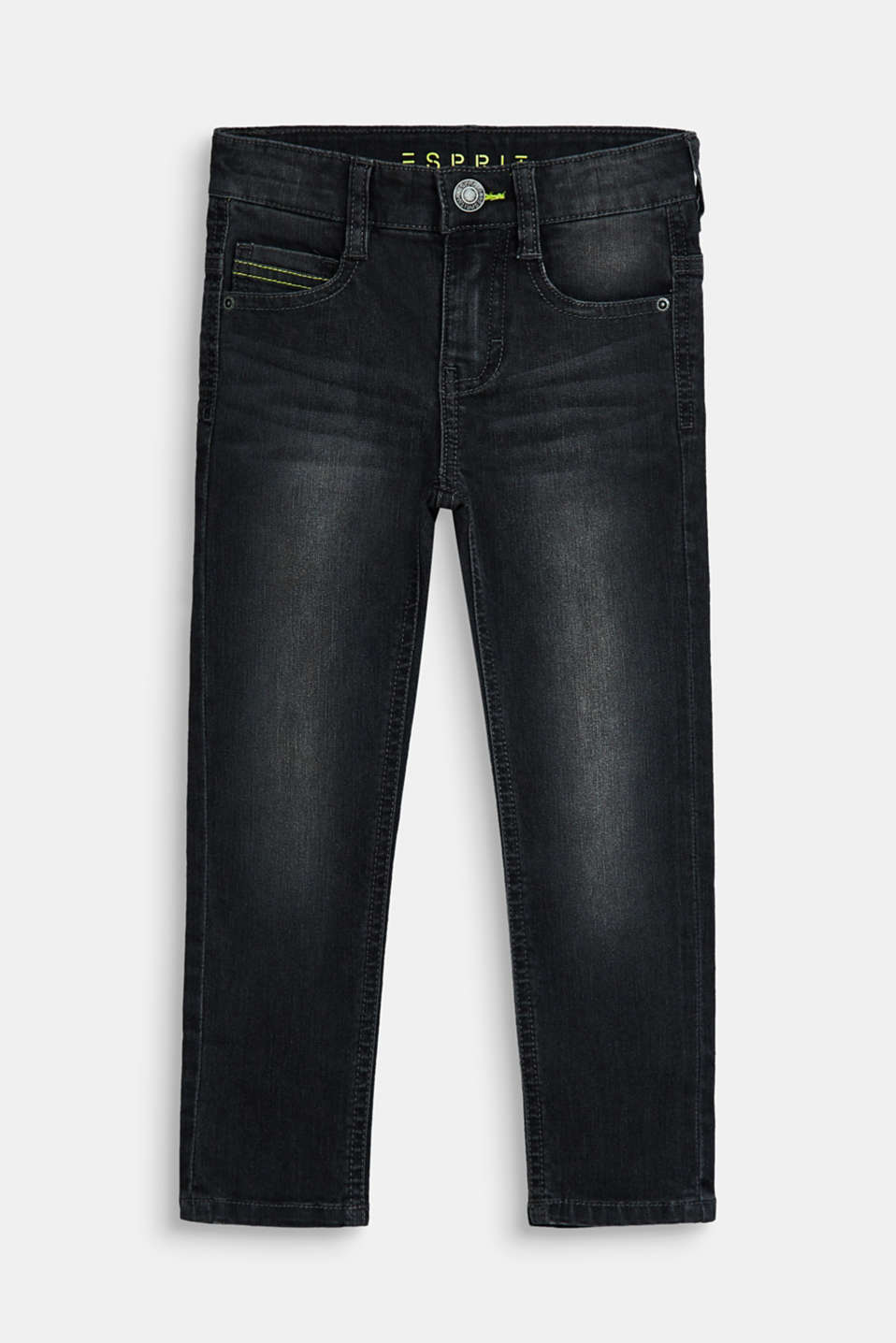 Esprit - Stretch jeans with contrasting stitching, adjustable waist