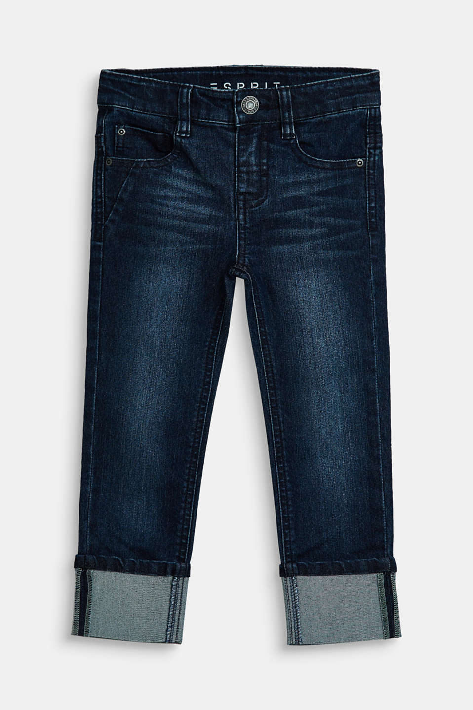 Esprit - Stretch jeans with fixed turn-up hems