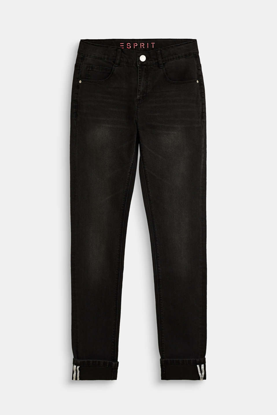 Esprit - Stretch jeans with glittering inner piping