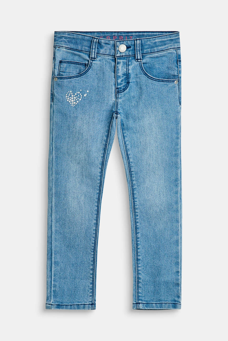 Esprit - Stretch jeans with a heart print and an adjustable waistband
