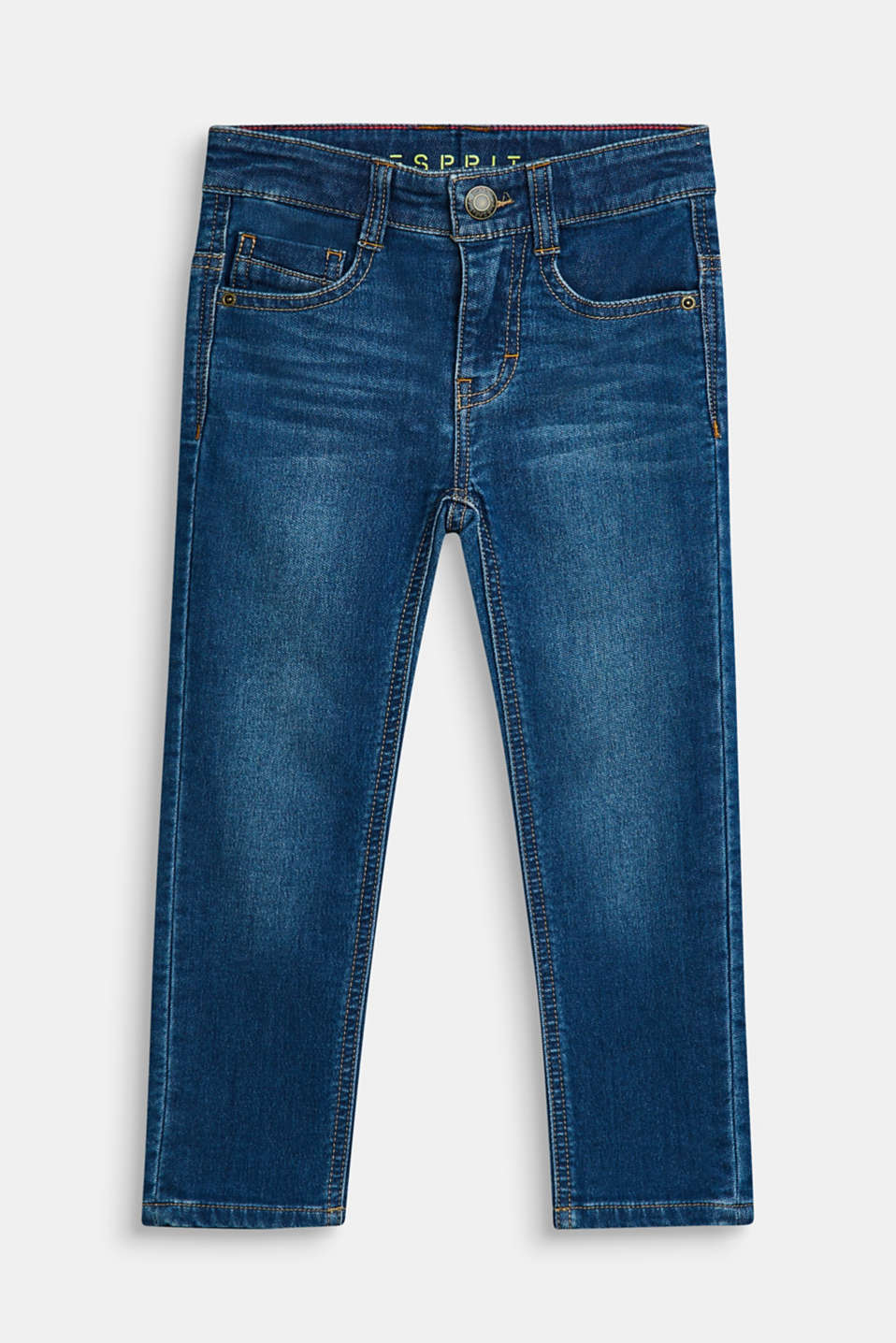 Esprit - Jeans in exceptionally soft denim, adjustable waistband