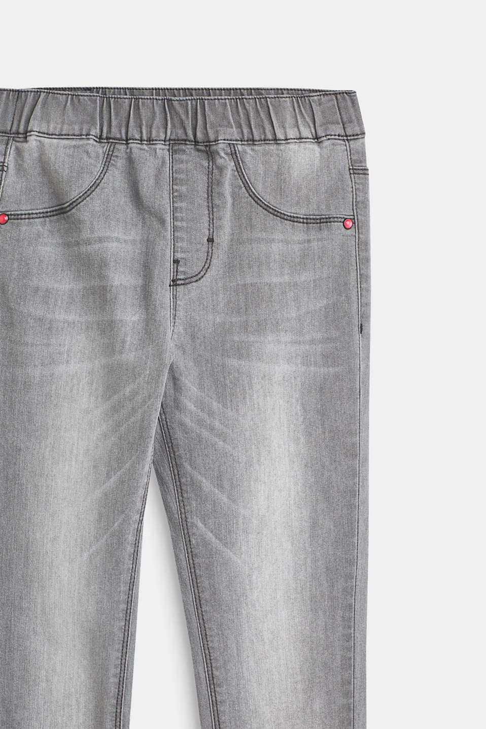 Grey stretch jeans with an elasticated waistband, LCLIGHT GREY DEN, detail image number 2