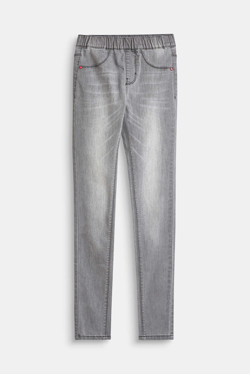 Esprit - Grey stretch jeans with an elasticated waistband