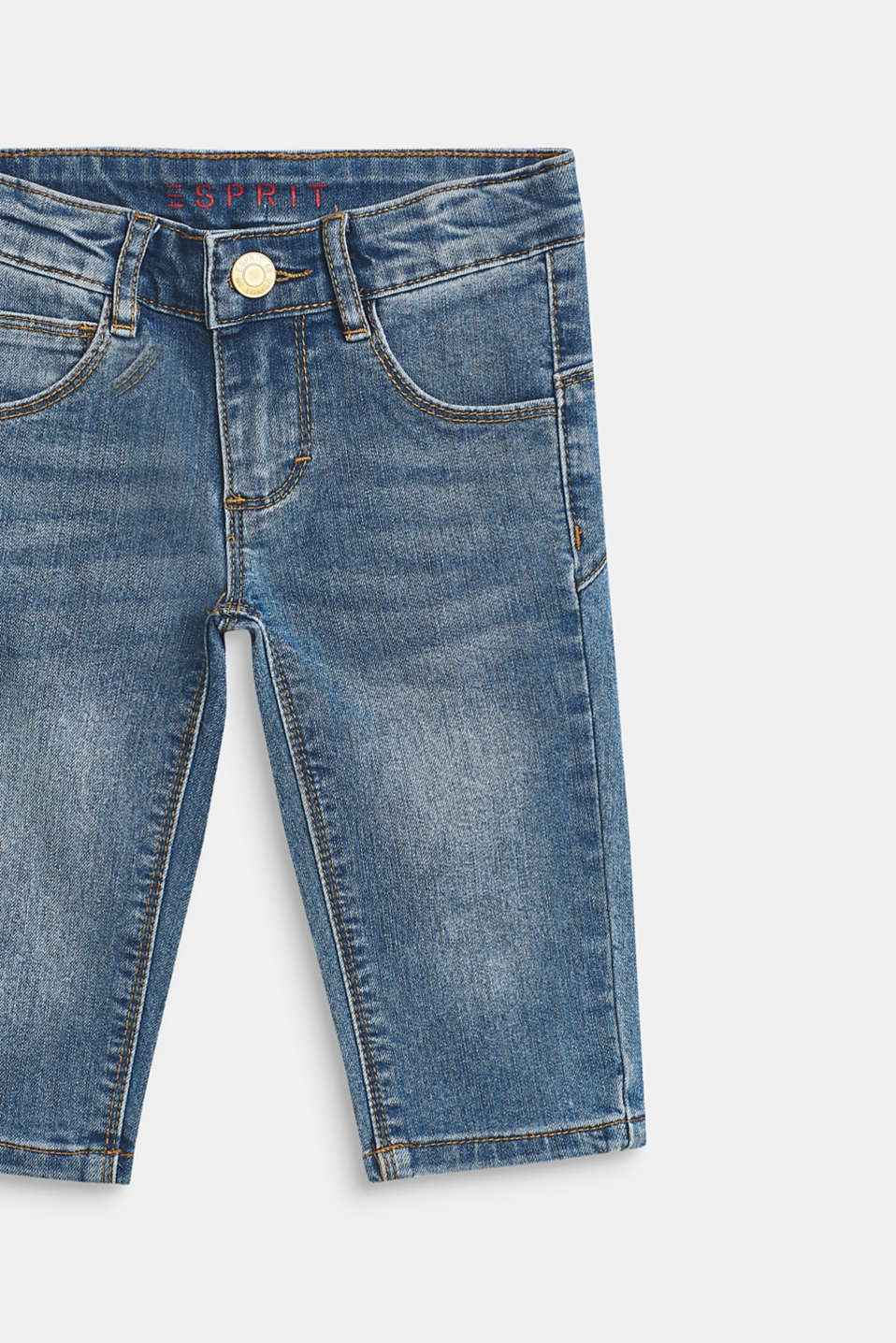 Stretchy capri-length jeans, adjustable waistband, MEDIUM WASH DE, detail image number 2