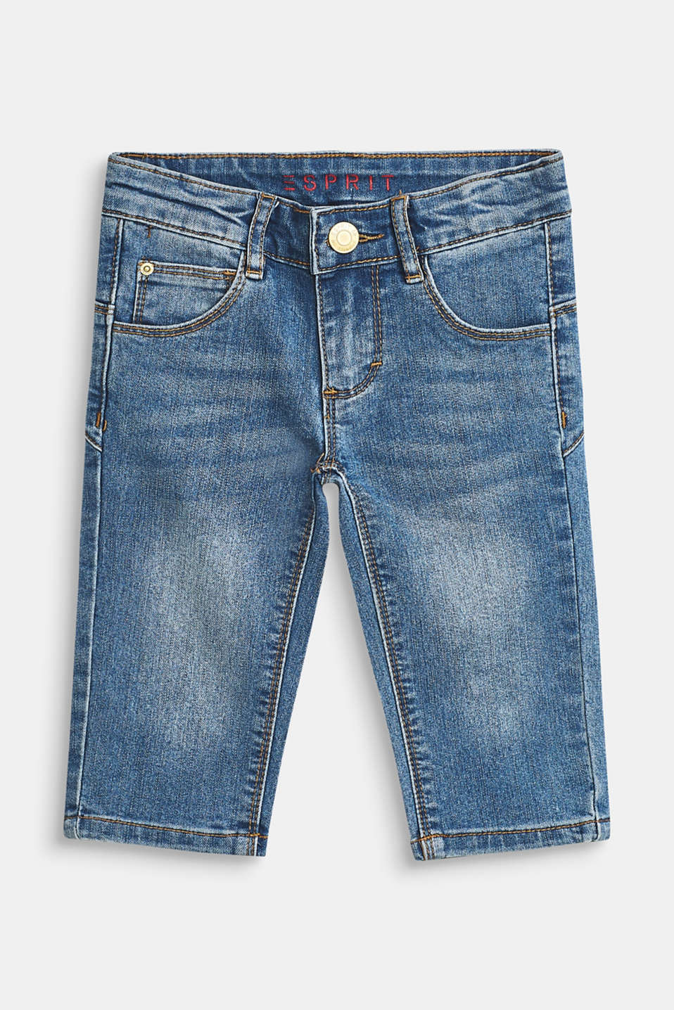 Esprit - Stretch-Jeans in Capri-Länge, Verstellbund