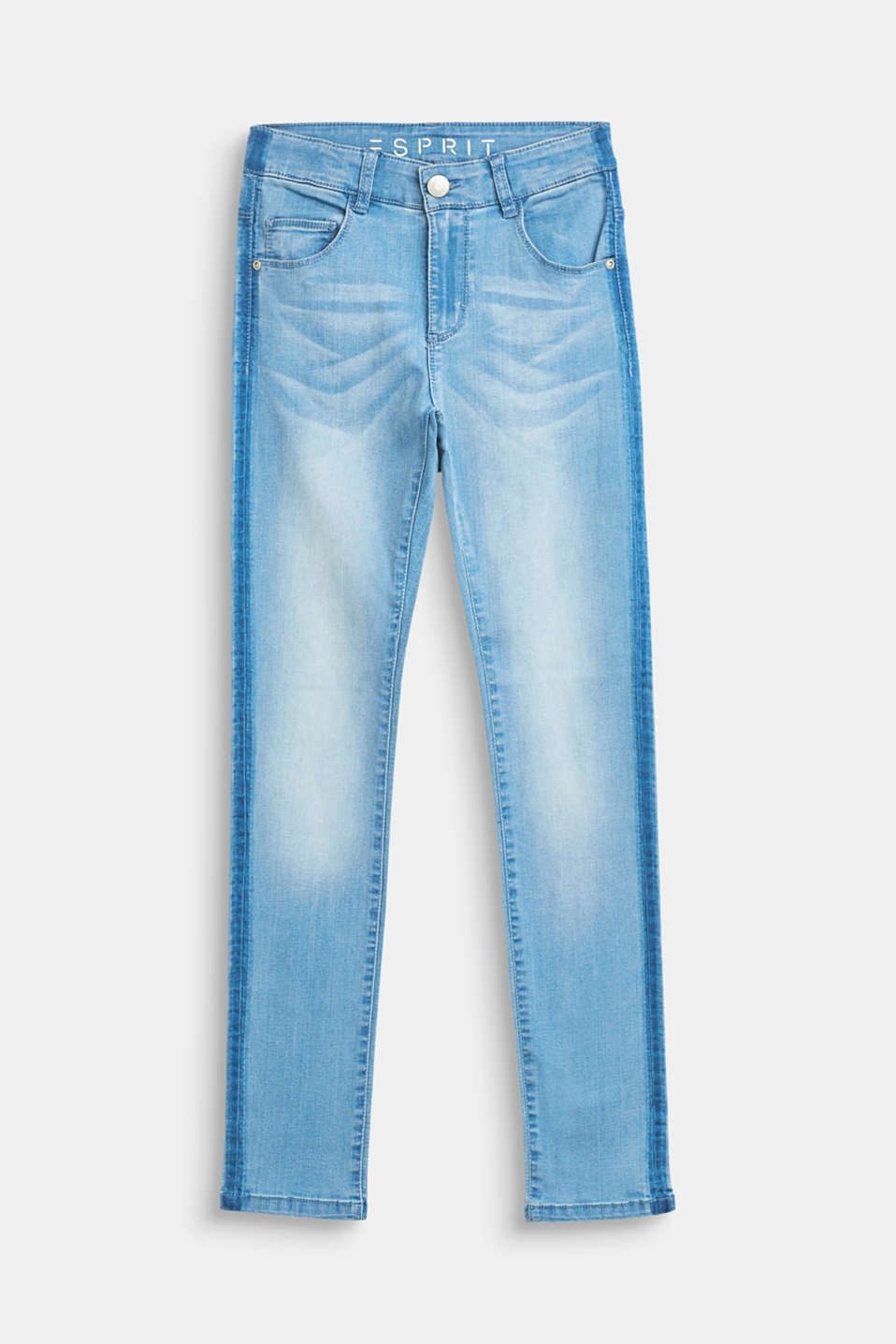 Esprit - Stretch jeans with stripes and an adjustable waist