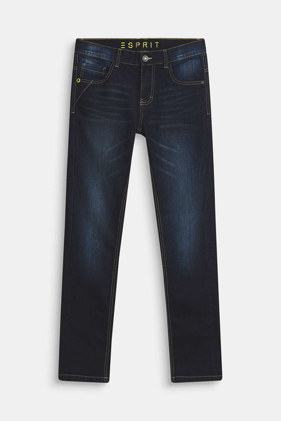 Esprit - Stretch jeans with a garment-washed effect and an adjustable waistband