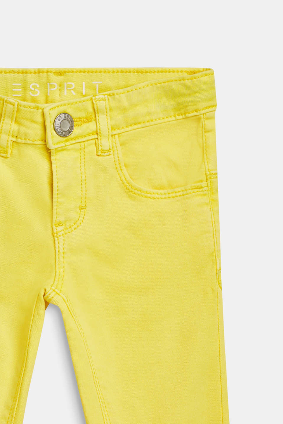 Coloured stretch jeans in stretch cotton, LEMON DROP, detail image number 2