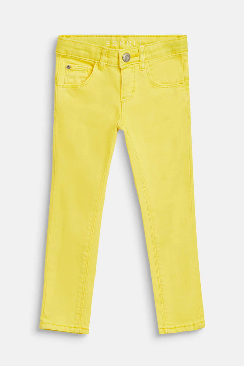 Coloured stretch jeans in stretch cotton, LEMON DROP, detail image number 0