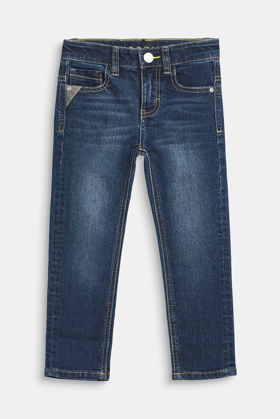 Esprit - Stretch jeans with a tape detail and adjustable waistband