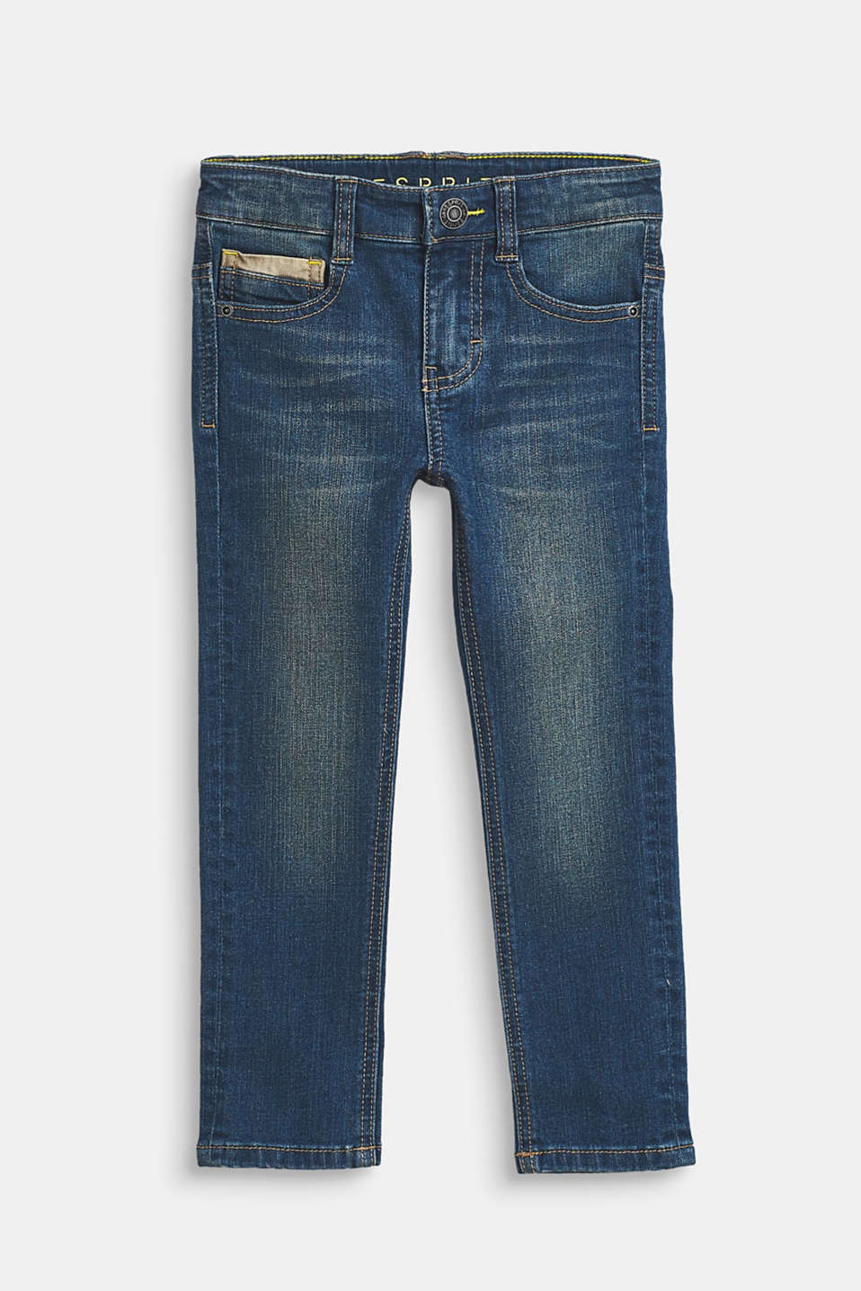 Esprit - Washed, stretch jeans with decorative trims