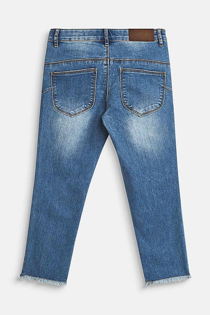 Stretch capri jeans with frayed hems, LCMEDIUM WASH DE, detail image number 1