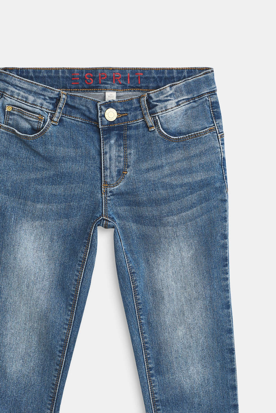 Stretch capri jeans with frayed hems, LCMEDIUM WASH DE, detail image number 3