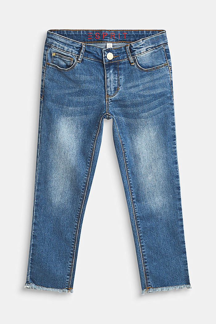 Stretch capri jeans with frayed hems, LCMEDIUM WASH DE, detail image number 0