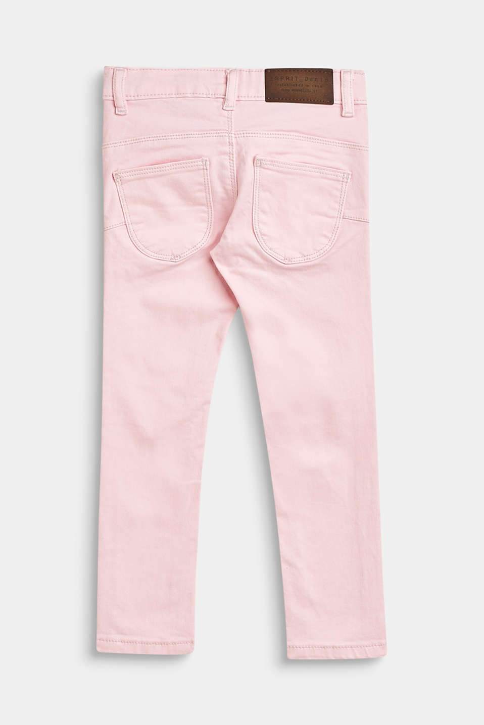 Stretch cotton trousers with an adjustable waistband, BLUSH, detail image number 1