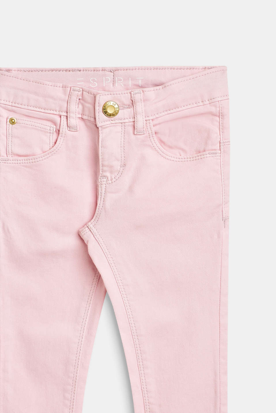 Stretch cotton trousers with an adjustable waistband, BLUSH, detail image number 2