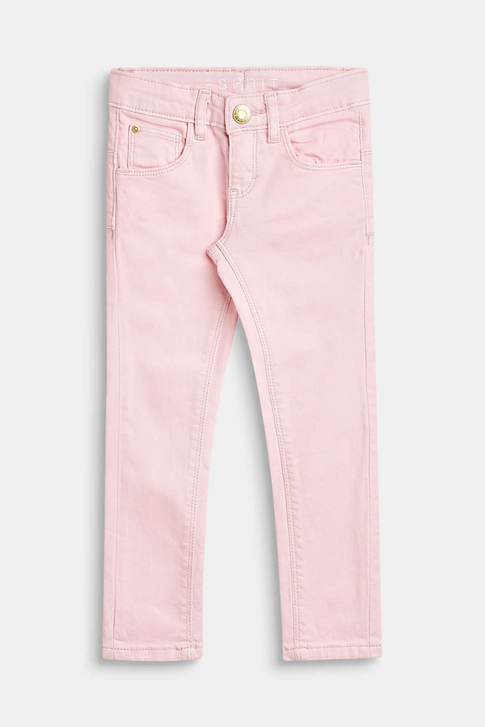 Stretch cotton trousers with an adjustable waistband, BLUSH, detail image number 0
