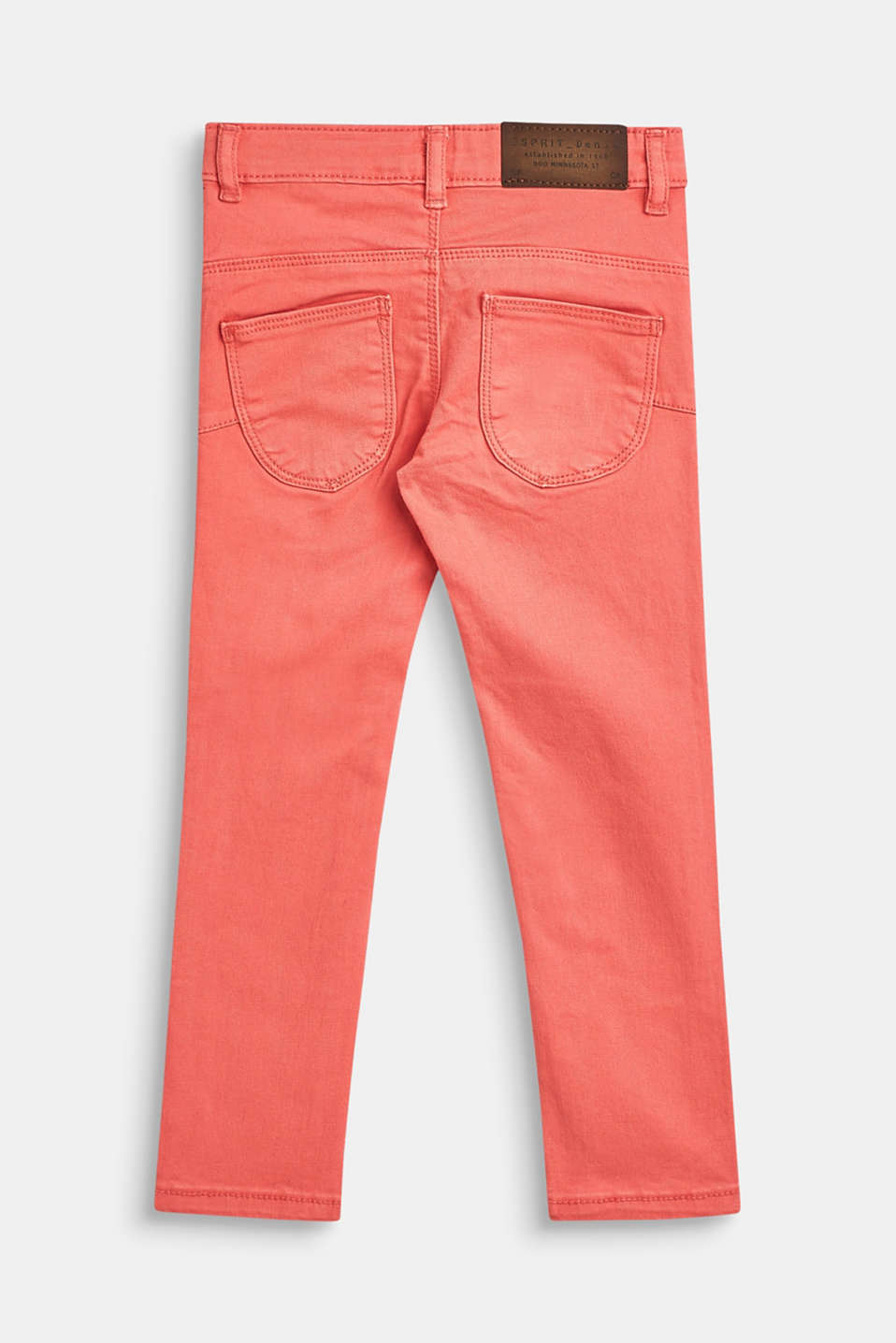 Stretch cotton trousers with an adjustable waistband, CORAL, detail image number 1