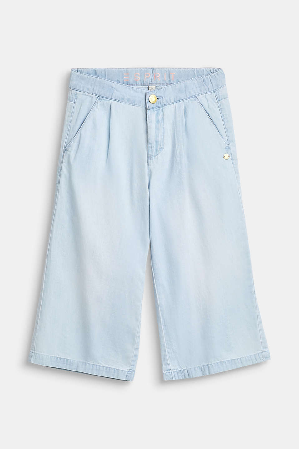 Esprit - Lightweight denim culottes, 100% cotton