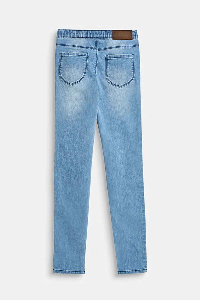 Jegging met stretch en elastische band, BLUE LIGHT WASHED, detail image number 1